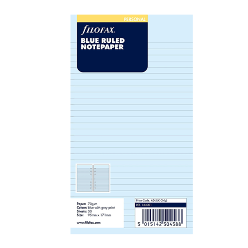 Filofax Personal Blue Ruled Notepaper 17.1cm x 9.5cm