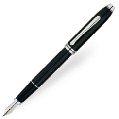 Cross Townsend Black Fountain Pen Rhodium Trim