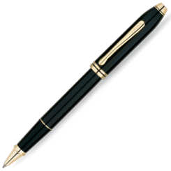 Cross Townsend Black Rollerball Gold Trim