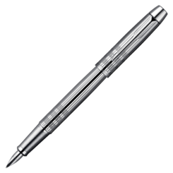 Parker IM Premium Shiny Chrome Chiselled Fountain Pen – Medium Nib