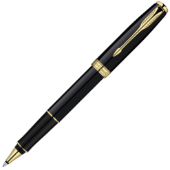 Parker Sonnet Lacquer Black Rollerball with Gold Trim