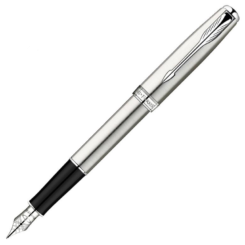 Parker Sonnet Stainless Steel Fountain Pen with Chrome Trim