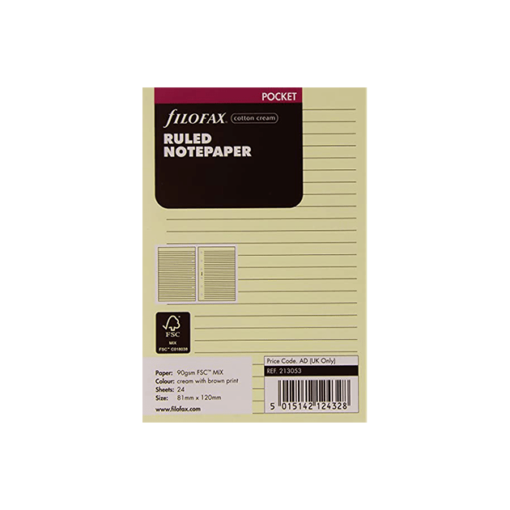 Filofax Pocket Cotton Cream Ruled Notepaper 12cm x 8.1cm