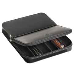 Visconti Leather Pen Case Holds Six Pens