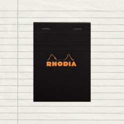 A6 Black Lined Stapled Rhodia Pad -No.13 - 10.5cm x 14.8 cm