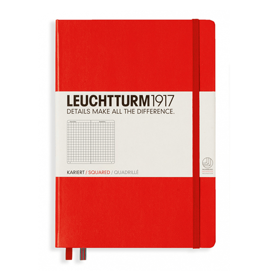 Leuchtturm A5 Red Notebook Medium Squared Hardcover