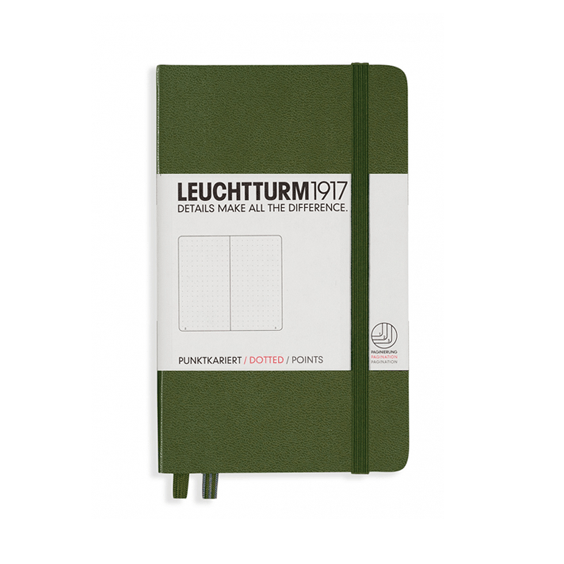Leuchtturm A6 Army Notebook Pocket Dotted Hardcover