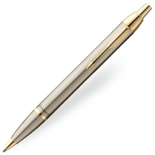 parker-im-brushed-metal-gold-trim-ballpoint-pen