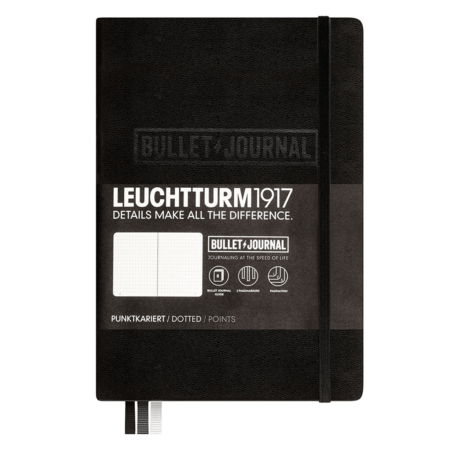 Leuchtturm A5 Bullet Journal Notebook Medium Dotted Hardcover – Black