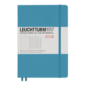 Leuchtturm 2018 A5 Nordic Blue Weekly Planner & Notebook Hardcover – Horizontal