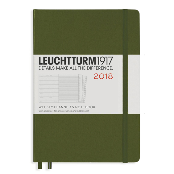 Leuchtturm A5 Army Weekly Planner & Notebook Hardcover – 2018