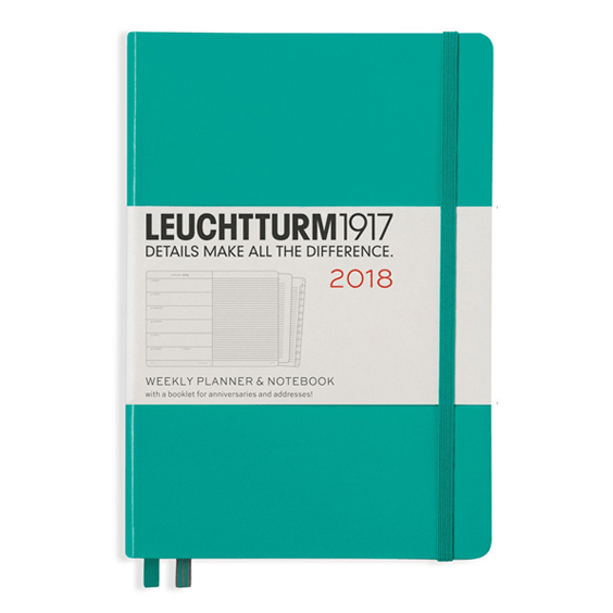 Leuchtturm A5 Emerald Green Weekly Planner & Notebook Hardcover – 2018