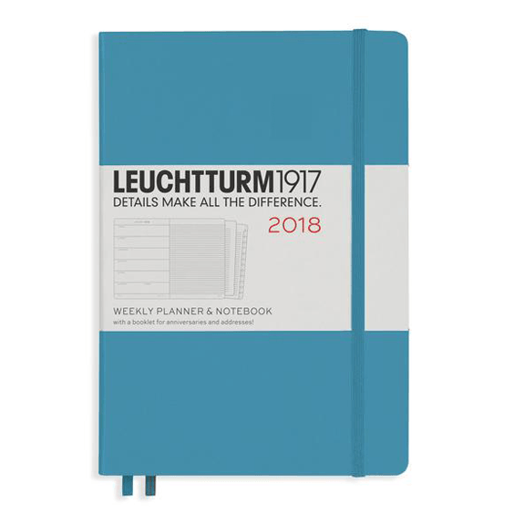 Leuchtturm A5 Nordic Blue Weekly Planner & Notebook Hardcover – 2018