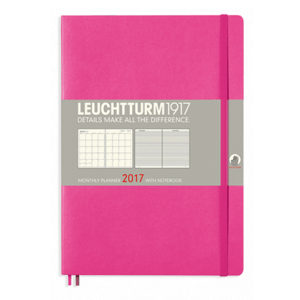 Leuchtturm New Pink B5 Monthly Planner 16 Months Softcover Composition - 2017