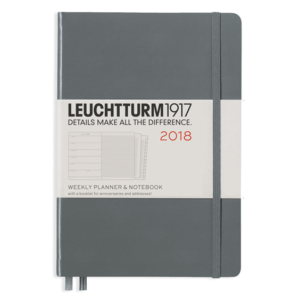 Leuchtturm A5 Anthracite Grey Weekly Planner & Notebook Hardcover – 2018