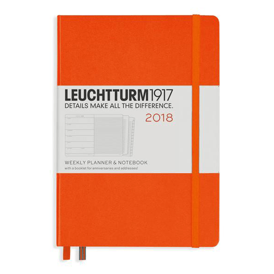 Leuchtturm A5 Orange Weekly Planner & Notebook Hardcover – 2018
