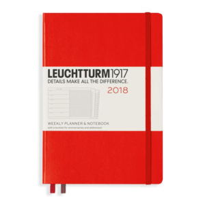 Leuchtturm A5 Red Weekly Planner & Notebook Hardcover – 2018