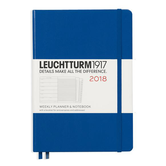 Leuchtturm A5 Royal Blue Weekly Planner & Notebook Hardcover – 2018