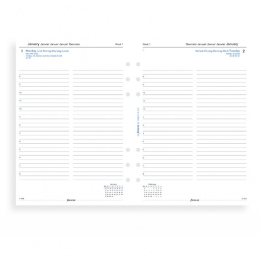 Filofax 2020 A5 Day Per Page With Appointments Diary Insert - Multi Language