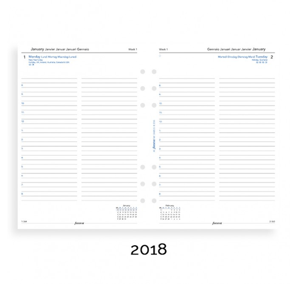 Filofax 2018 A5 Day Per Page With Appointments Diary Insert - Multi Language