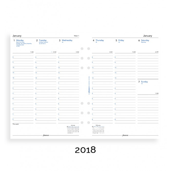Filofax 2018 A5 Week On Two Pages With Appointments Diary Insert