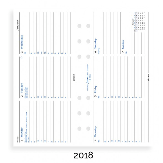 Filofax 2018 Personal Week On Two Pages Diary Insert – Horizontal With Appointments