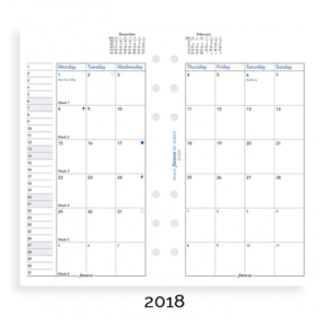 Filofax 2018 Personal Month On Two Pages Diary Insert