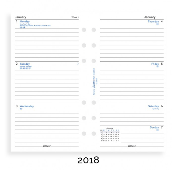 Filofax 2018 Personal Week On Two Pages Diary Insert - Lined