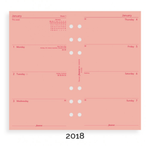 Filofax 2018 Pink Personal Week On Two Pages Diary Insert
