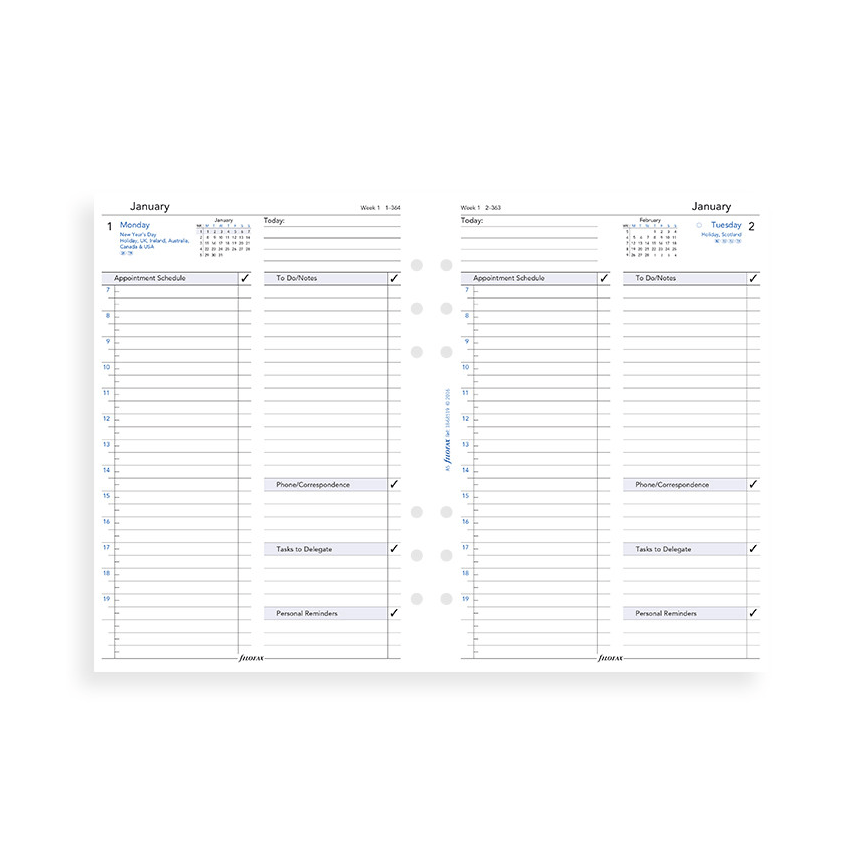 Filofax 2019 A5 One Day On A Page Business Diary Insert