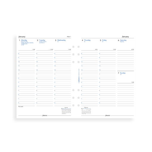 Filofax 2019 A5 Week On Two Pages With Appointments Diary Insert