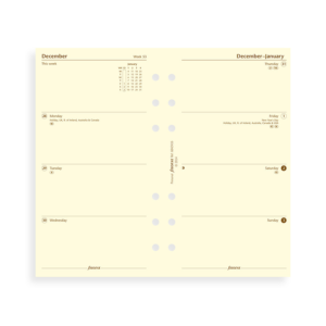 Filofax 2019 Cotton Cream Personal Week On Two Pages Diary Insert