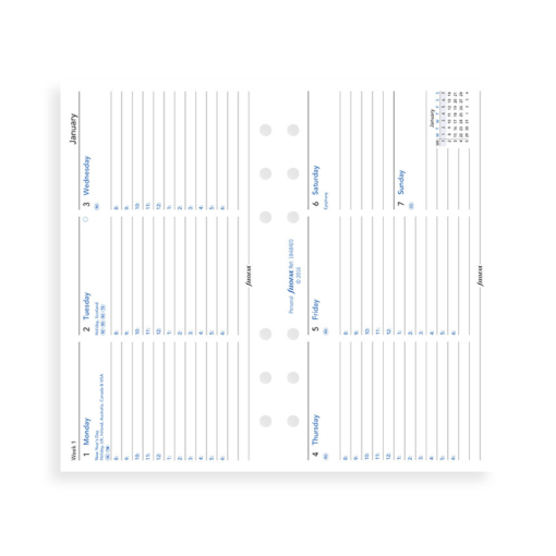 Filofax 2019 Personal Week On Two Pages Diary Insert – Horizontal With Appointments