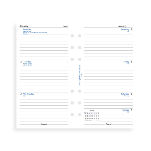 Filofax 2019 Personal Week On Two Pages Diary Insert - Lined