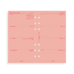 Filofax 2019 Pink Personal Week On Two Pages Diary Insert