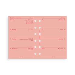 Filofax 2019 Pocket Pink Week On Two Pages Diary Insert
