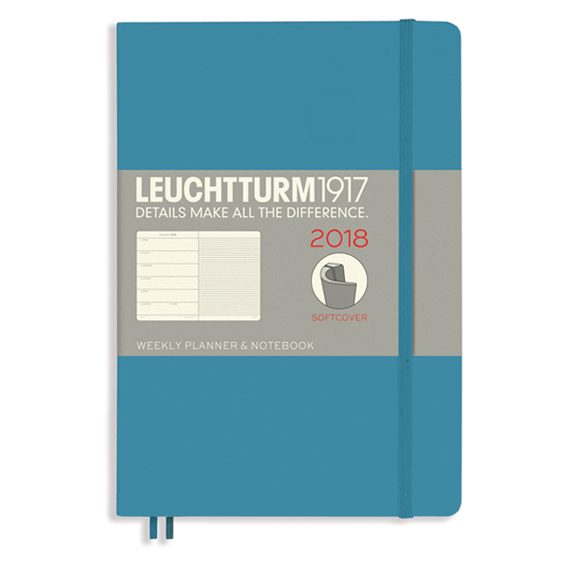 Leuchtturm A5 Nordic Blue Weekly Planner & Notebook Softcover – 2018