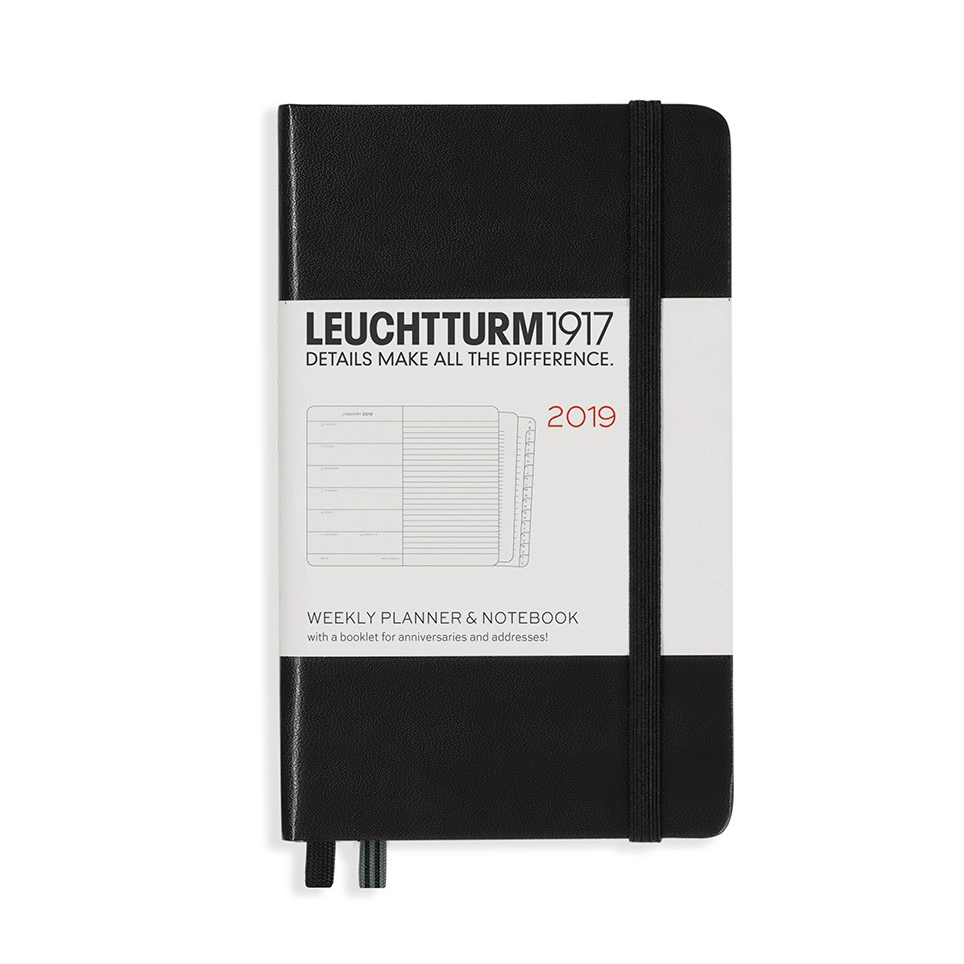 Leuchtturm Black A6 Weekly Planner & Notebook Hardcover – 2019