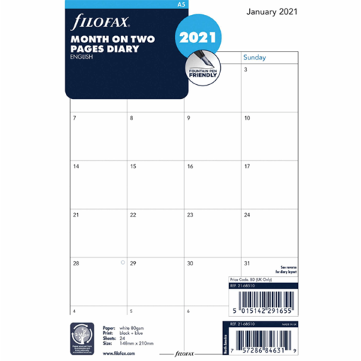 Filofax 2021 A5 Month On Two Pages Diary Insert - 21cm x 14.8cm