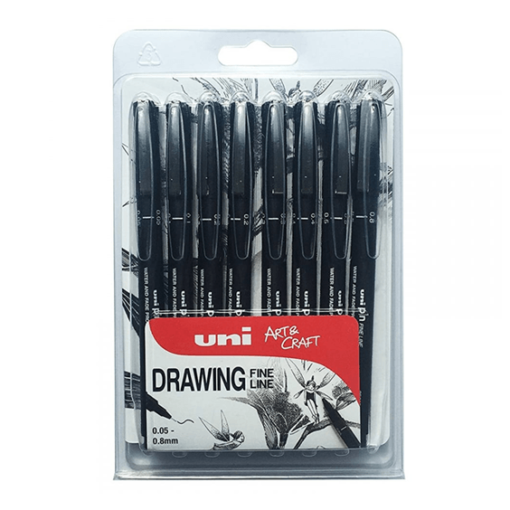 Uni Ball Drawing Fine Liner Pens - 8 Pack