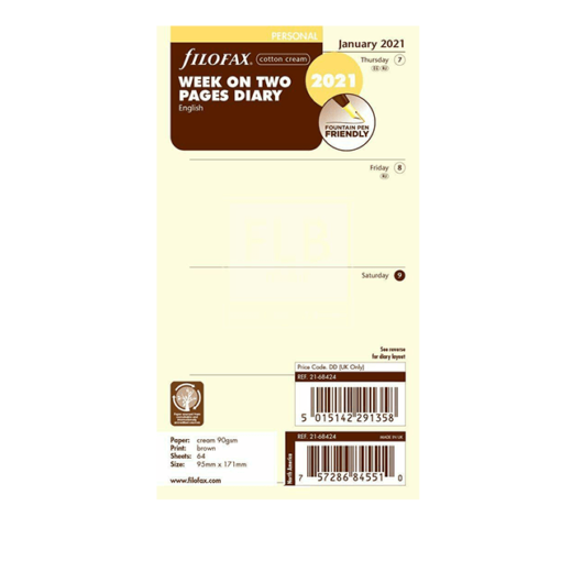 Filofax 2021 Cotton Cream Personal Week On Two Pages Diary Insert 17.1cm x 9.5cm
