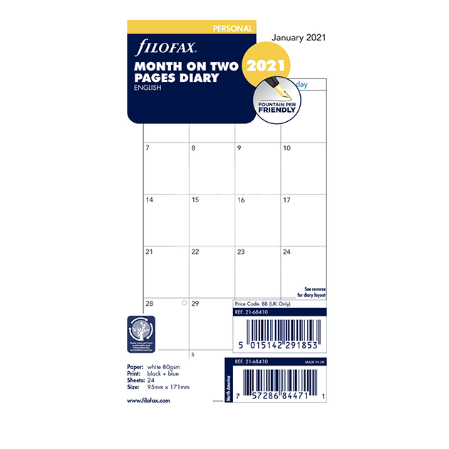 Filofax 2021 Personal Month On Two Pages Diary Insert 17.1cm x 9.5cm