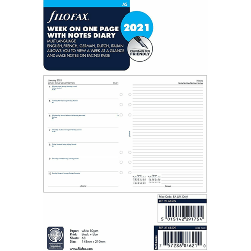 Filofax 2021 A5 Week Per Page With Notes Diary Insert - Multi Language