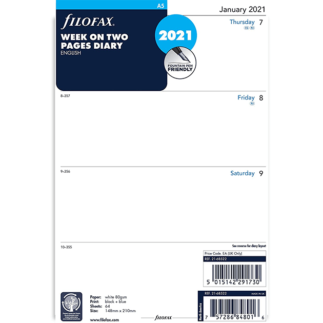 Filofax 2021 A5 Week On Two Pages Diary Insert