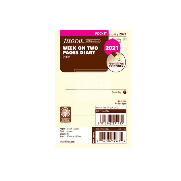 Filofax 2021 Pocket Cotton Cream Week On Two Pages Diary Insert 12cm x 8.1cm