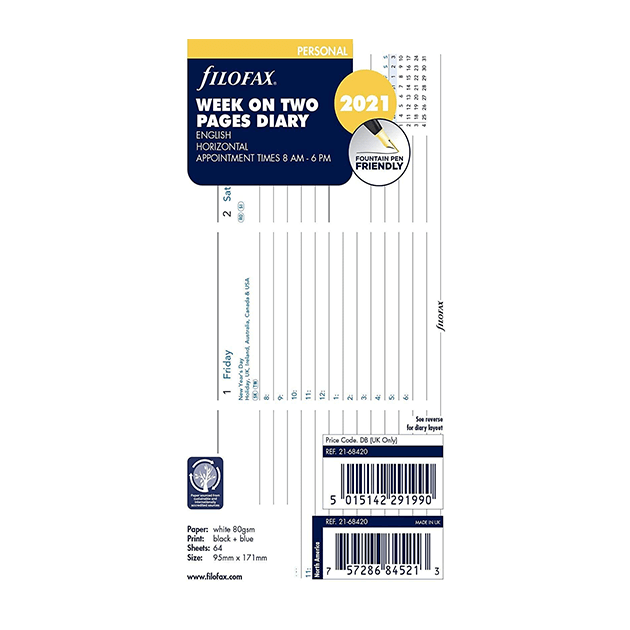 Filofax 2021 Personal Week On Two Pages Diary Insert – Horizontal With Appointments - 17.1cm x 9.5cm