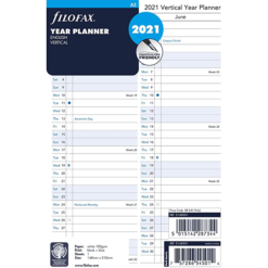 Filofax 2021 A5 Year Planner Vertical Diary Insert