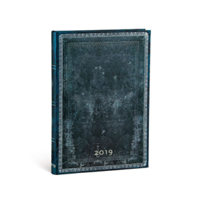 Midnight Steel Midi Paperblanks 12 Month Week At A Time 2019 Diary – Horizontal