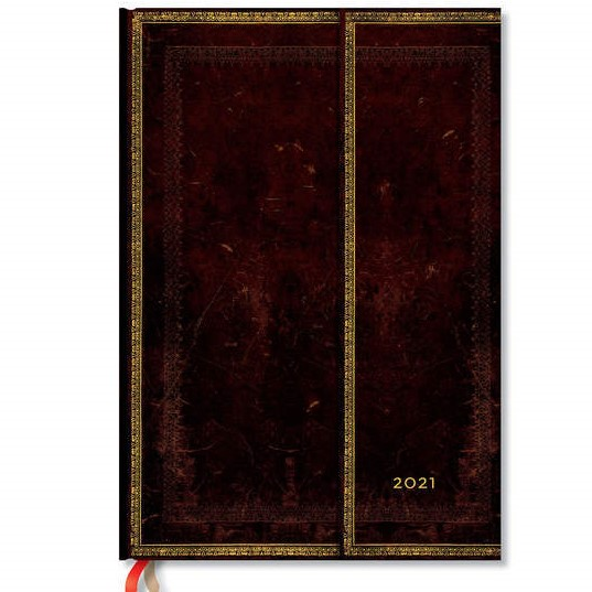 Paperblanks Black Moroccan Grande 12 Month Week At A Time 2021 Diary – Vertical