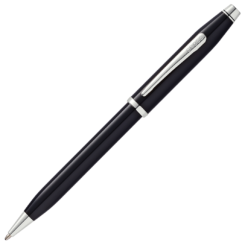 Cross Century II Black Lacquer Ballpoint Pen - Chrome Trim